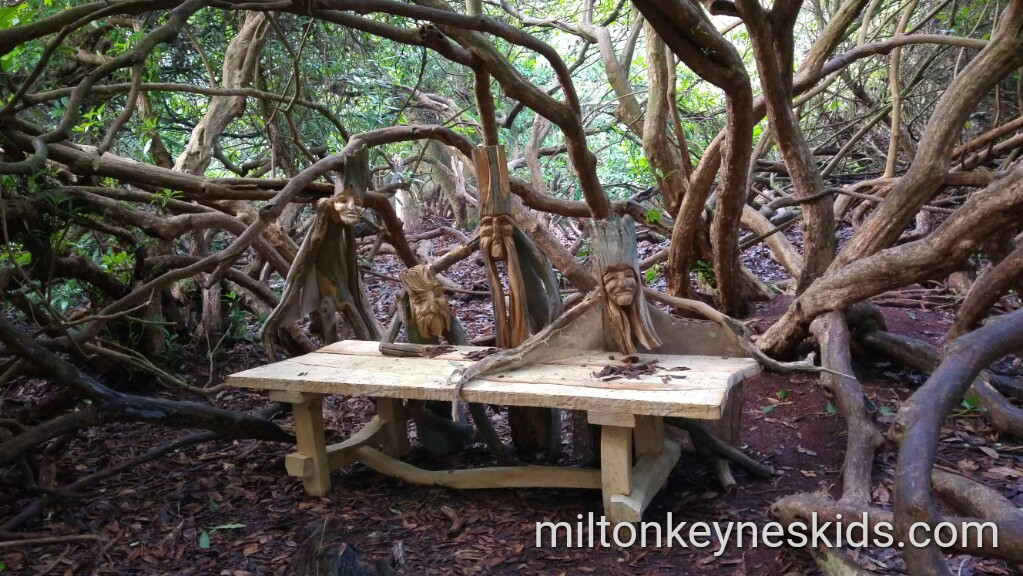 Wooden sculpture fairy trail at Rushmere Country Park in Bedfordshire