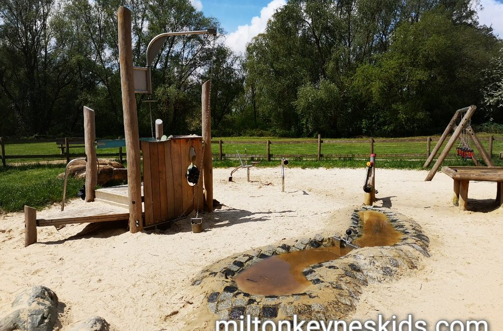 Sand and water play area at Barnwell Country Park