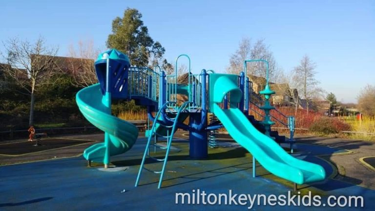 Blue climbing frame at the blue park in Monkston