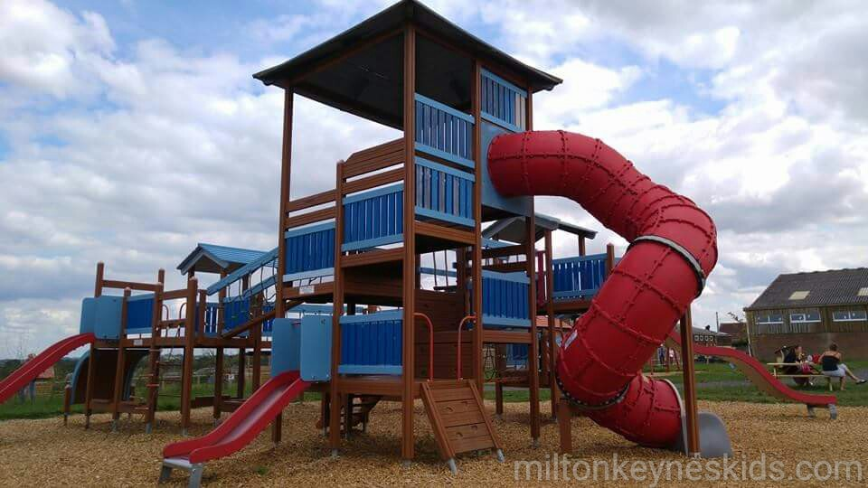 Large climbing frame with red slide at Green dragon eco farm