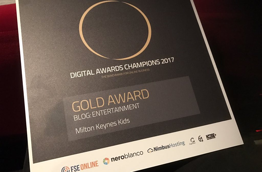 Milton Keynes Kids wins gold award for blog entertainment at Champion of Champion Digital Awards