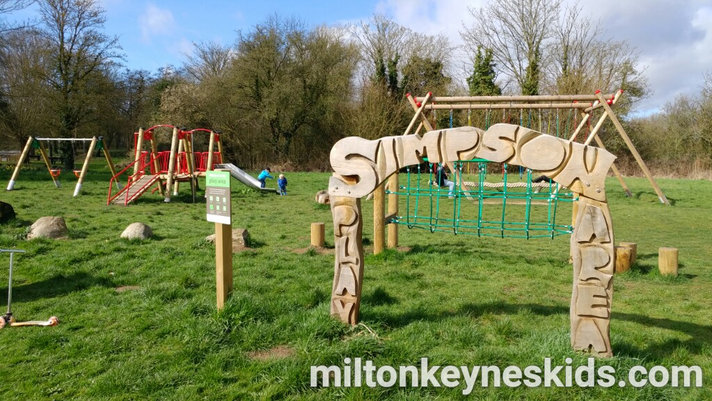 Simpson park in Milton Keynes with musical pipes climbing frame