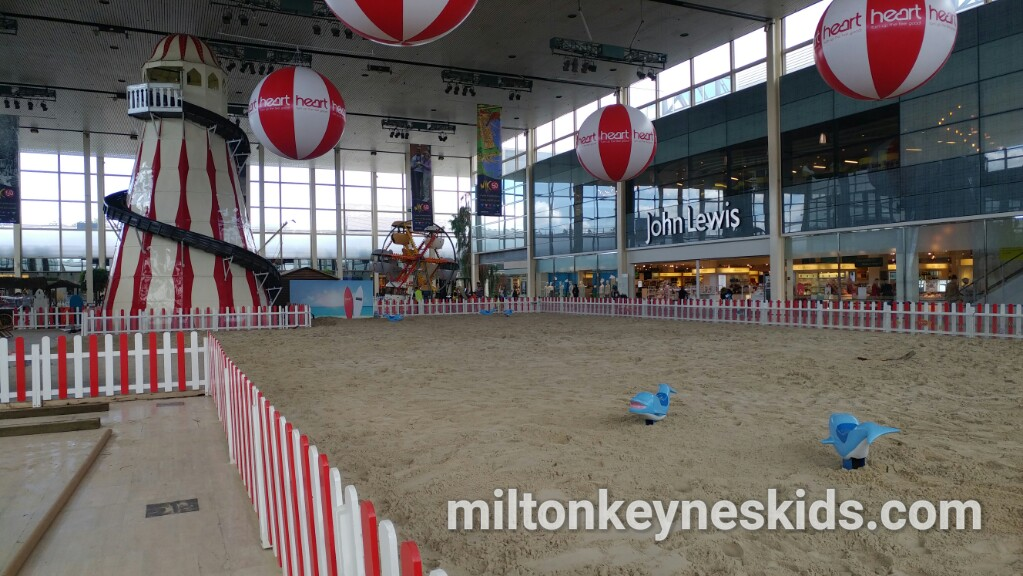 Indoor beach at Centre MK shopping centre in Milton Keynes 2017