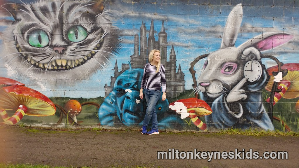 Alice in Wonderland Wall, Tinkers Bridge, Milton Keynes