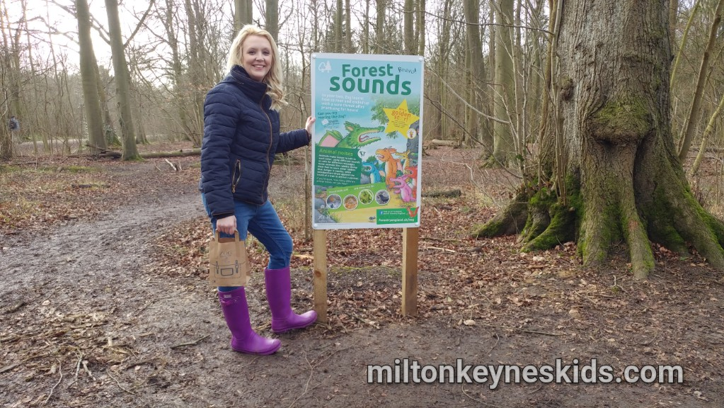 Laura Miller next to a Zog Trail sign at Salcey Forest in Northamptonshire