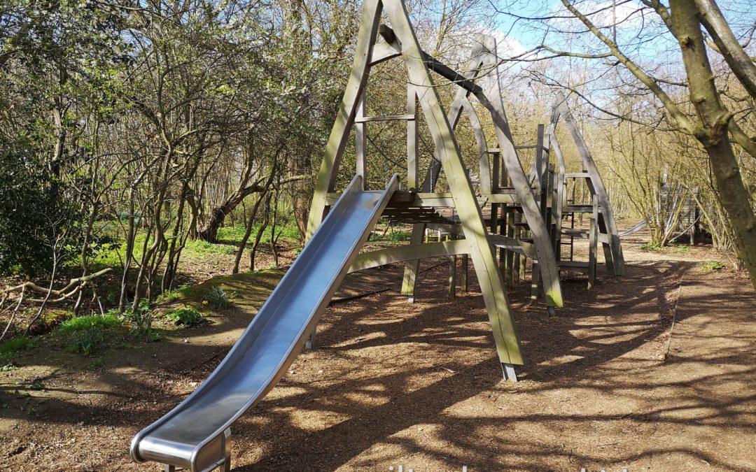 Moggerhanger Park climbing frame with slide