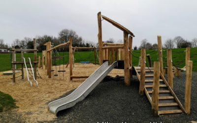Slide and climbing frame in the park in Greenleys, Milton Keynes