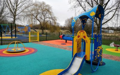 Small climbing frame with slide at the Chichley Street Park and play area, Newport Pagnell
