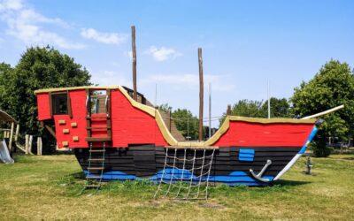 Pirate ship climbing frame in Fishermead in Milton Keynes