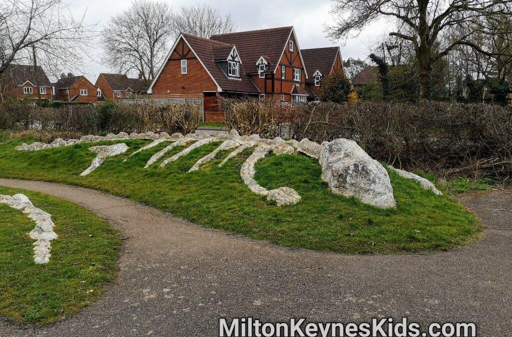 Dinosaur skeleton park, Caldecotte, Milton Keynes